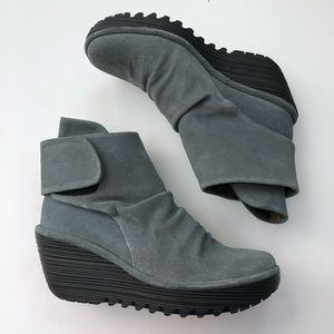 Fly London Yegi gray suede wedge booties size 6